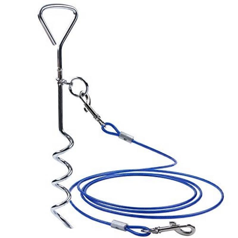 Chien de serrage de câble pour chien Tieout Piquet en acier inoxydable, et 10m 360° Laisse et attache en spirale domestiques complet pour extérieur, jardin et TOP 2 image 0 produit